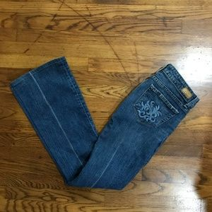 PAIGE Jeans - PAIGE Low Rise Flare Line Distressed Jeans
